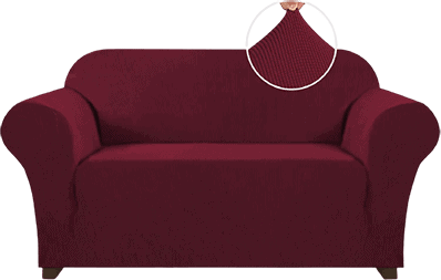 Best 2 Cushion Couch Cover PrinceDeco Stretch Sofa Slipcover 1 Piece Sofa Cover for 2 Cushion Couch - Best Slipcovers For Leather Sofas and Couches (Non-Slip) - ChairPicks
